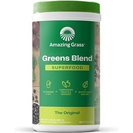 Amazing Grass Greens Blend Superfood: Super Greens Powder with Spirulina, Chlorella, Beet Root Powder, Digestive Enzymes & Probiotics, Original, 60 Servings (Packaging May Vary)