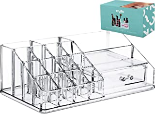 Acrylic Cosmetic Storage Lipstick Organizer - Decor 15 slot organizers & 1 box drawer tray holder for makeup perfume brush pens pencil lipgloss and other beauty accessories! For vanity or countertop!