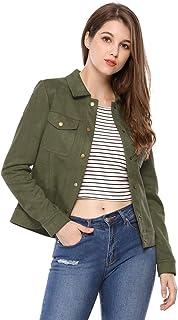 Allegra K Women's Turn-Down Collar Flap Pockets Snap Button Faux Suede Jacket