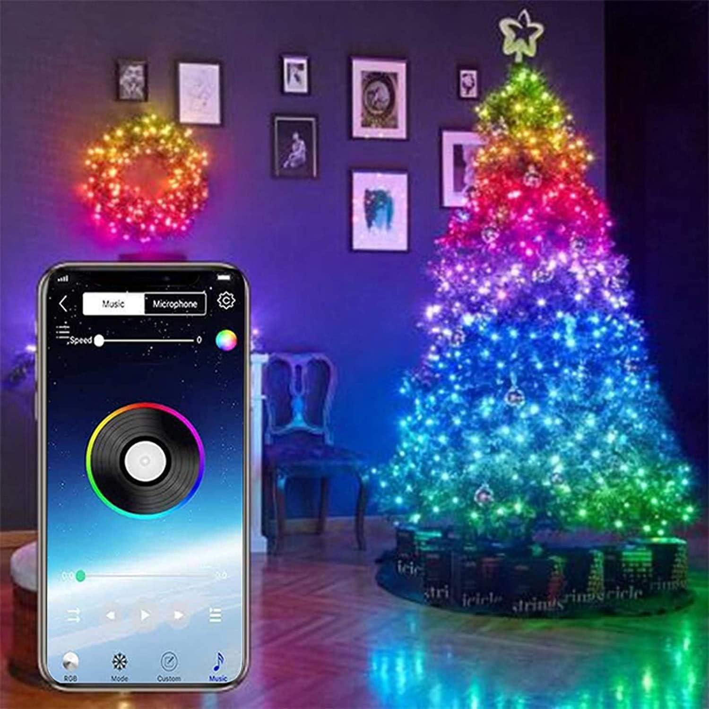 Stringa di luci LED Bluetooth USB per decorazione albero di Natale 10 m 100 led app telecomando scolorimento decorazione ornamenti festa di nozze WElinks Natale per Natale
