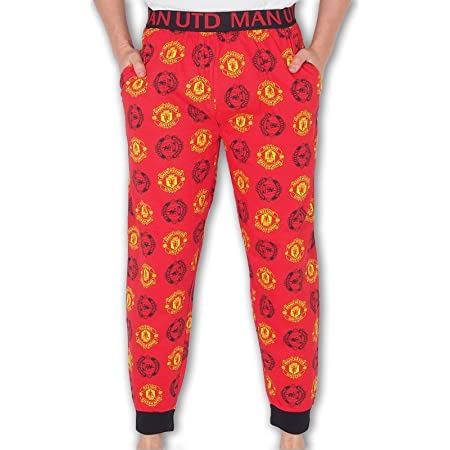 Manchester United FC Official Mens Lounge Pants Pyjama Bottoms Red Small