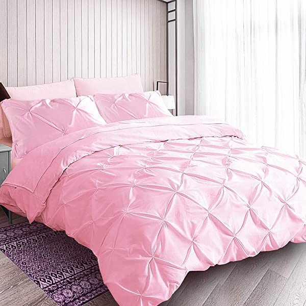 Pink Duvet Cover Queen Cotton Reverse Soft Cute Ruched Pinch Pleated Pintuck Diamond Pattern Duvet Cover For Girls Women Bedroom 90 X90 No Comforter