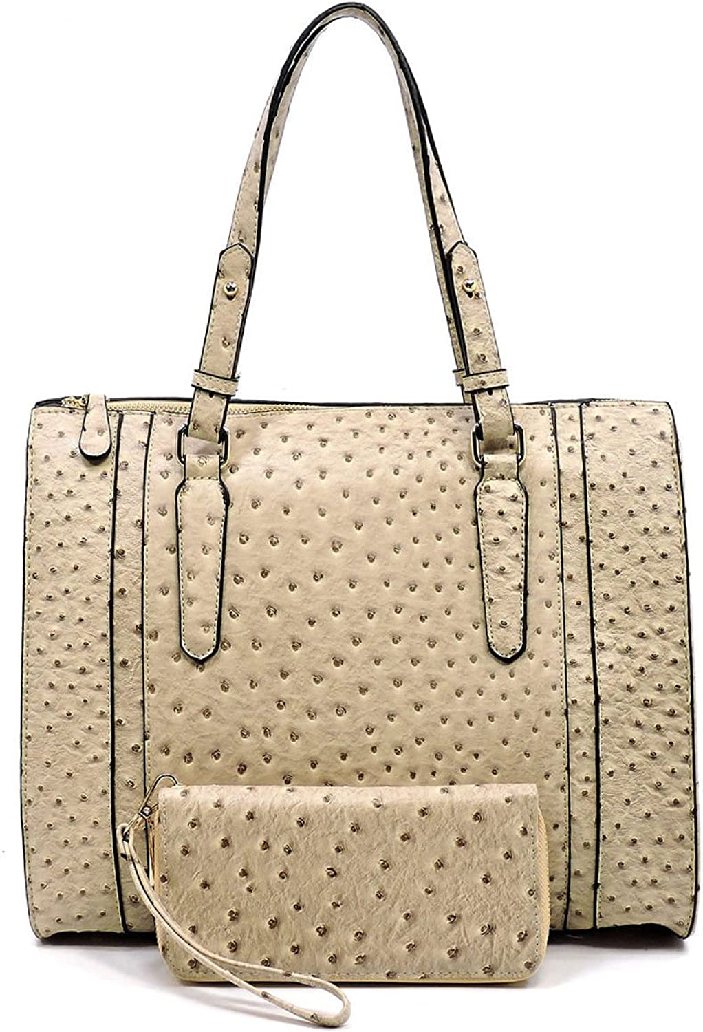 New Diophy, ZipTop Ostrich Embossed Tote w  Crossbody Strap + Wallet Taupe