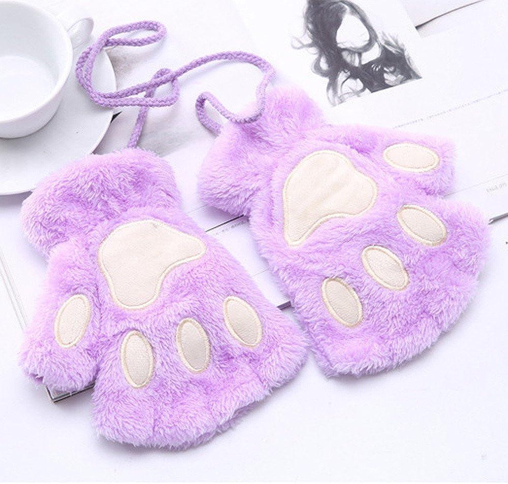 aihihe Womens Girls Cat Paw Gloves Winter Plush Faux Fur Cute Kitten Fingerless Mittens