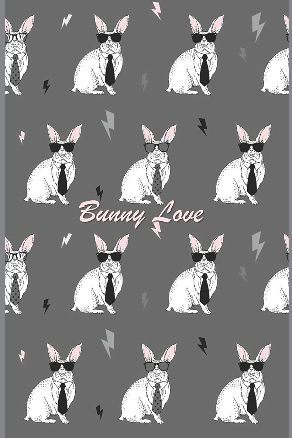 "敬礼タンク導体Bunny Love: 124 Page Softcover, Has Lined and Blank Pages Both With a Bunny Border, College Rule Composition (6"" x 9 "") Boho Bunny Rabbits in Sunglasses & Ties"