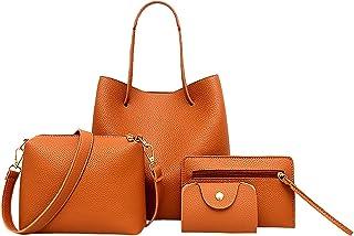 Women Tote Bags Set,4 Pcs,Large Handbag,Shoulder Bag,Messenger Bag,Card Pack