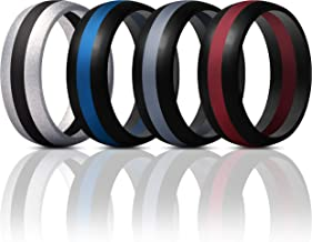 ThunderFit Mens Silicone Rings Wedding Bands - 4 Pack Classic & Middle Line - 8.7mm Wide - 2.5mm Thick