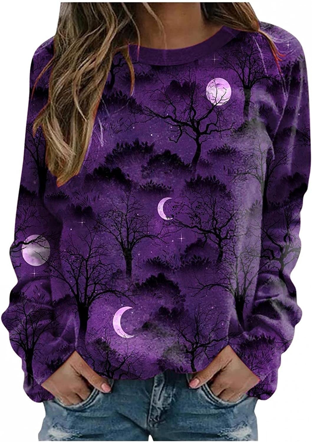 TAYBAGH Halloween Shirts for Women,Womens Fashion Halloween Printed Long Sleeve Sweatshirts Casual Pullover Blouse Tops