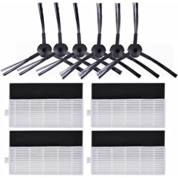 KEEPOW Kit de 10 pcs Repuestos para ILIFE A4s, A6, A4 Robot Aspirador, Incluye 6 Cepillos Laterales + 4 Filtros HEPA ...