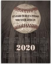2020 Calendar - Inspirational Baseball Quote - 11x14 Unframed Calendar Art Print - Gift for Baseball Fans, Also Makes a Great Gift Under $15 (Printed on Paper, Not Wood)