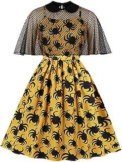 TIANRUN Womens Dresses Hepburn Spider Print Trim Swagger Skirt Round Collar Retro Dress Costume Gown Sundress