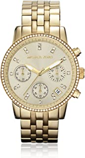NEW WOMENS MICHAEL KORS (MK5698) GOLD RUNWAY CHRONOGRAPH STAINLESS STEEL WATCH