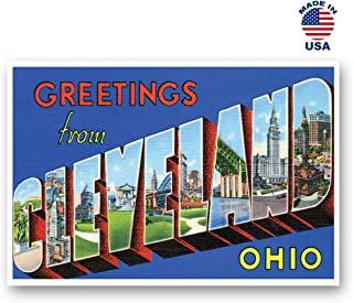 GREETINGS FROM CLEVELAND, OH vintage reprint postcard set of 20 identical postcards. Large Letter Cleveland, Ohio city name post card pack (ca. 1930's-1940's). Made in USA.