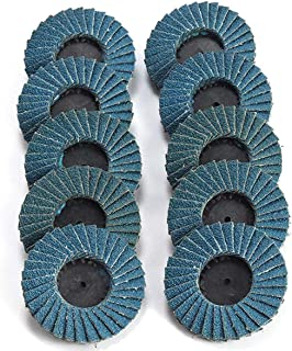 Katzco Flap Abrasive Discs 40 Grit 10 Pieces - Quick Change Grinding Wheels - for Rotary Tools, Die Grinder, Drill, Blending and Finishing Applications