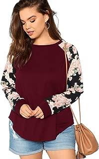 Women's Plus Size T Shirts Floral Raglan Sleeve Curved Hem Top