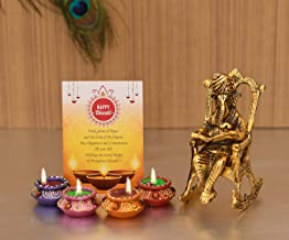 Ganesha on Chair Idol Showpiece with Gift Card Gifts for Brother Sister Family Friends, Diwali Decoration Items, Diwali Gi...
