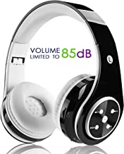 Kids Wireless Bluetooth Headphone with Microphone Volume Limited Foldable Earphone Children Stereo On Ear Headset for PC/TV/Tablets/Smartphones (Black)