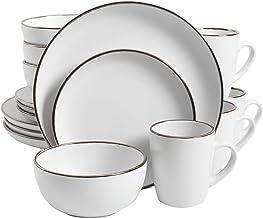 طقم أواني طعام دائري روكاوي هوم من جيبسون هوم، خدمة لأربعة (16 قطعة)، حافة بلون أبيض مطفأ اللمعة/ معدني