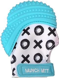 Munch Mitt Purple Bows Teething Mitten for 3-12 Months Baby, Aqua Blue XO