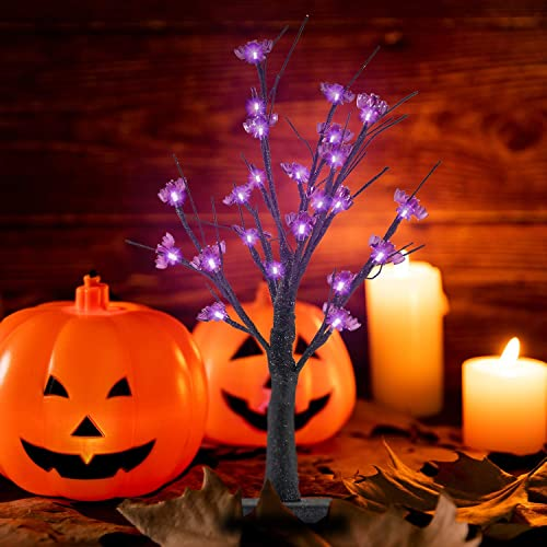 popular Twinkle Star 24 LED Lighted Halloween Tree, Battery Operated Birch Tree outlet sale with 24 DIY Bat, Indoor Home Table Desktop Best Halloween lowest Decorations Gift Package outlet sale