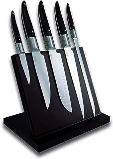 Laguiole Expression® - Bloc Aimanté de 5 Couteaux de cuisine - Couteau d'office + couteau de cuisine + santoku + couteau d...