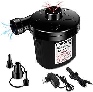Enibon Bomba de Aire Eléctrica, Inflador Electrico Portátil para Inflar/Desinflar con 3 Boquillas, DC12V / AC220V-240V Cas...
