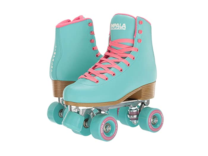 Vintage Sneakers, Retro Designs for Women Impala Rollerskates Impala Quad Skate Big KidAdult Aqua Girls Shoes $95.00 AT vintagedancer.com