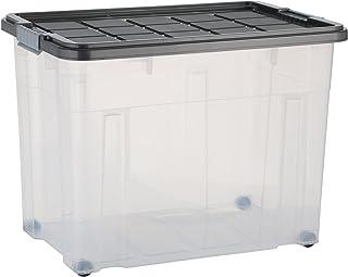 axentia Boîte de Rangement à Roulettes avec Couvercle - Boîte Plastique Empilable 80 Litres - Caisse de Rangement Universe...