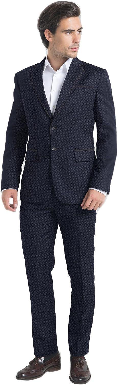 iTailor Men's 2 Button Birdseye Suit Navy Blue 56 Long