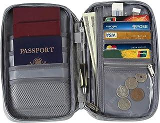 Passport Wallet Travel Document Organizer Multiple Family Passport Cover for Men Women (Gray)