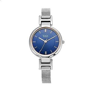 ساعة يد نحاس دائرية انالوج بعقارب مقاومة للماء للنساء راجا فيفا من تيتان 2608SM02 - فضي