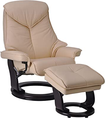 Amazon Com Adjustable Taupe Leather Recliner And Ottoman