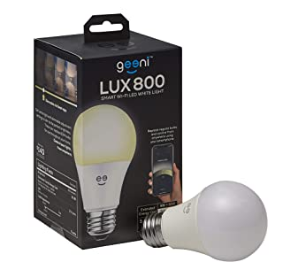 Geeni LUX 800 Smart Wi-Fi LED Dimmable White Light Bulb (2700K)  A19, 60-Watt Equivalent  No Hub Required  Works with Amazon Alexa, Google Assistant, Microsoft Cortana