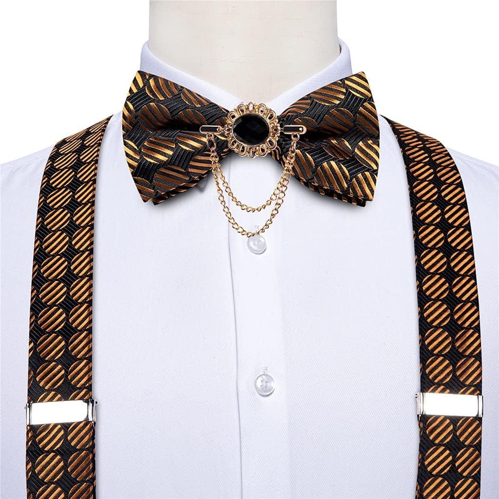 SLATIOM Fashion Silk Men's Pants Suspender Gold Black Suspender Bow Tie Leather Metal 6 Clips Suspender Braces Suit Accessories (Color : A, Size : Adjustable)