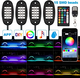 TACHICO RGB LED Rock Lights with APP/RF Wireless Remote Control Neon Multicolor Underglow IP67 Waterproof Music Timing Mode Light Kits for Jeep Off Road Truck Car ATV SUV Motorcycle Yacht Boat, DC 12V