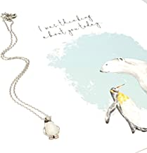 Smiling Wisdom - Penguin Opal Necklace Friendship Thinking of You Greeting Card Gift Set - Female Woman Friend - .925 Silver Plated - New