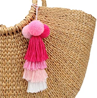 Colorful Pom Pom Tassel Bag Key Rings Attractive Boho Handmade Personalized Straw Bag Bamboo Bag Pendant