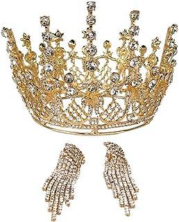 YNYA Tiare Corona Nuziale Copricapo Barocco Copricapo Rotondo Principessa Corona Copricapo da Sposa Abito da Sposa con Gio...