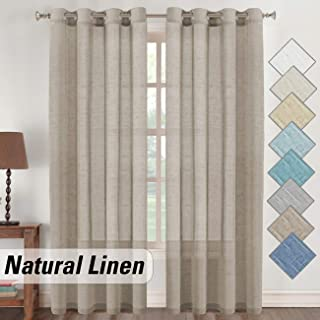 Flamingo P Taupe Natural Linen Sheer Curtains, Nickel Grommet Semi Sheer Patio Door Flowy Curtains, Functional Light Filtering Linen Textured Window Treatment (Taupe, 52