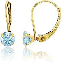 14K Yellow Gold 6mm Round Gemstone Martini Leverback Earring