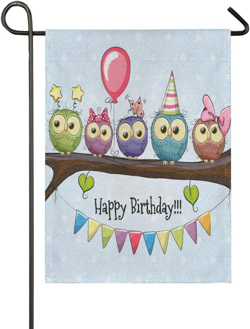 KRYSTYMG Garden Flag Happy Birthday Owls Balloon Vertical Double Sided Print Durable Yard Flag for Home Farmhouse Outdoor Decoration 12x18 Inch