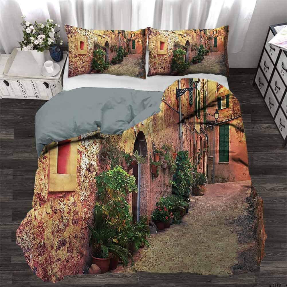 70 x 90 Inch Ancient Old Italy Map Premium Quilt Cover Ultra Soft and Easy Care Twin painting-home Quilt Cover Wanderlust