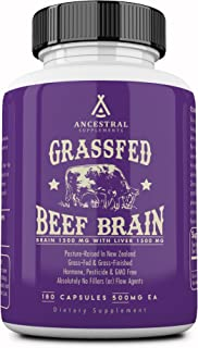 Ancestral Supplements Grass Fed Brain (with Liver) � Supports Brain, Mood, Memory Health (180 Capsules)