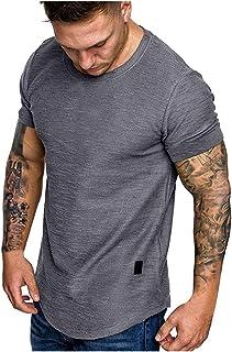 Mens T-Shirts Cotton O-Neck Casual Basic Short Sleeve Tee Shirt Slim fit Soft Tops Lightweight Sweatshirts EAZsyn8