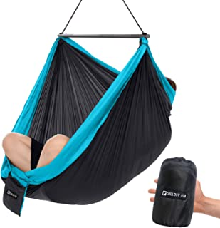 CHILLOUT POD Travel Hammock Chair, Lightweight Hanging Chair, Ultra Compact and Portable, One Minute Setup, Multiple Seating Positions, Foldable One-Piece System (Dark Grey & Light Blue)