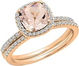 مجموعة دازلنغ روك 10 قيراط ذهب 7 مم وسادة مورغانيت قطع الماس الدائري للنساء هالة الزفاف مجموعة خواتم الخطبة