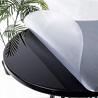 KDDEON Nappe Transparente Mat Rond en PVC de 3mm,Film de Protection de Table de Nappe Imperméable À l'eau et Anti-Brûlure,...