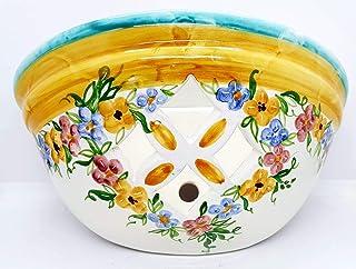 Plafoniera da Parete Traforata Ceramica Fiori Msti Realizzato e Dipinto a mano Nina Palomba Made in Italy Dimensioni 30 x ...