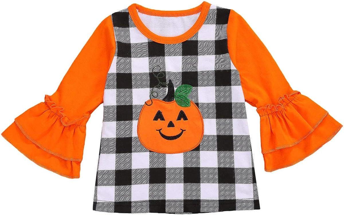 Toddler Kids Baby Girl Halloween Pumpkin 1 Piece Ruffle Long Sleeve T-Shirts Top Outfit 1-6T