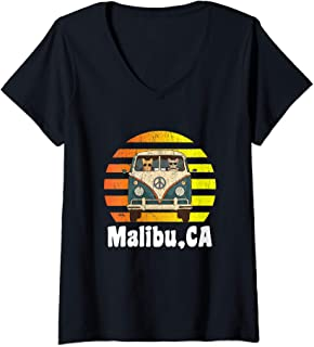 Womens Malibu CA Road Trip Distressed Retro Vintage Hippie Van V-Neck T-Shirt